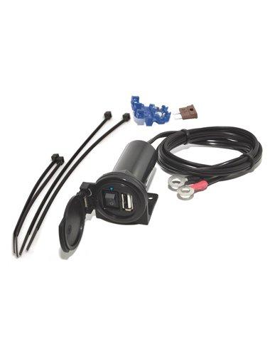 Cargador USB Baas USB6 5V-12V IPX3, cable 1,5m con fusor e interruptor
